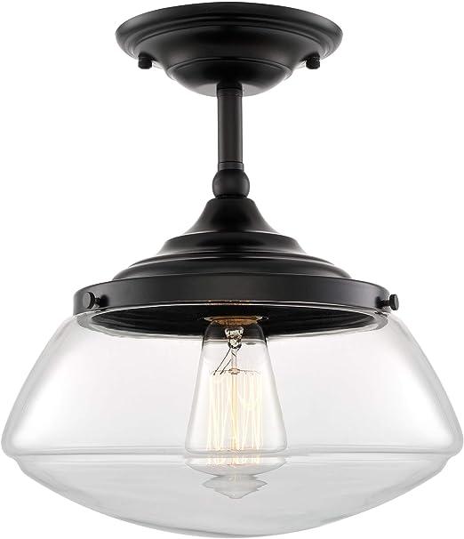 Kira Home Summit 10 Modern Industrial Farmhouse Semi Flush Mount Ceiling Light Schoolhouse Glass Shade Matte Black Finish