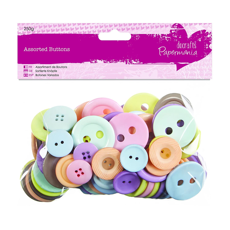 Docrafts-Papermania, Bottoni colorati assortiti, 250 g PMA 354319