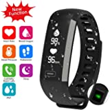 Waterproof Fitness Activity Tracker Heart Rate Monitor Sleep Blood Pressure Oxygen Monitor Pedometer Smart Bracelet Step Tracker/Calorie Counter/Sedentary/Drink/Call/SMS Reminder for Android & iOS