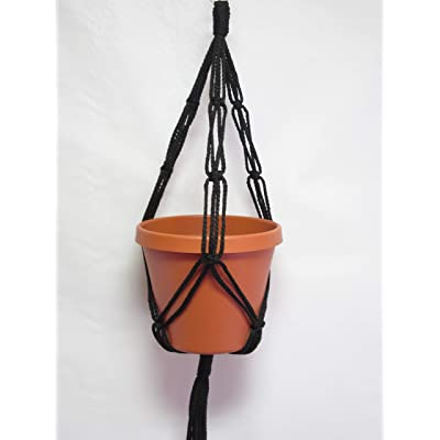 "Macrame Plant Hanger 20"" Friendship Style 4mm Cord Choose Color (Black): Arts, Crafts & Sewing"