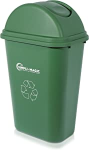 Simpli-Magic 79231 Swing-Top Lid Recycle Bin, 9.5 Gallons, Green