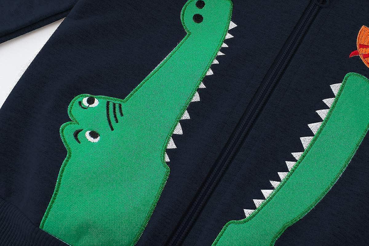 DD-CM Toddler Boy Zip Front Cute Dinosaur Hooded Sweatshirt