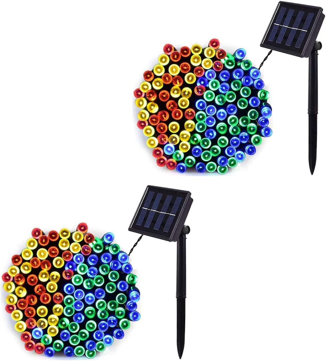 Baimo 2 Pack 33ft Solar String Lights, 100 LED 8 Modes Waterproof Fairy Lights for Garden, Tree, Yard, Christmas, Wedding, Party Outdoor Indoor (Multicolor)