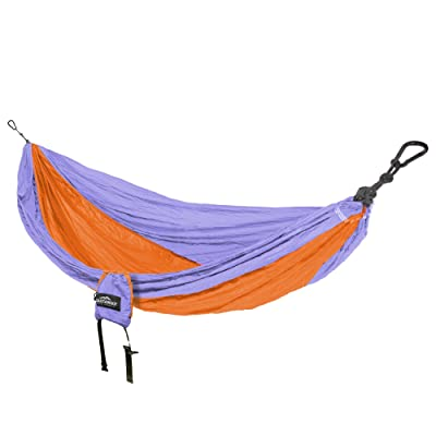 Castaway Travel Hammocks Double Travel Hammock Orange/Blue with Loop Hanging Straps: Sports & Outdoors