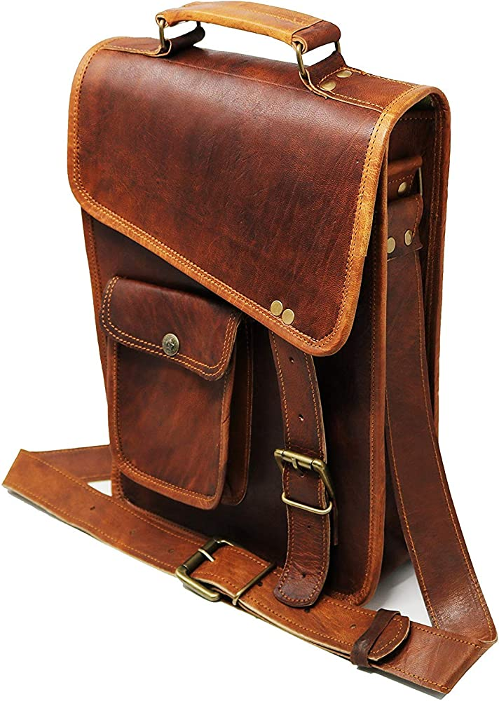 Leather Messenger Bag Laptop case Office Briefcase Gift for Men Computer Distressed Shoulder Bag