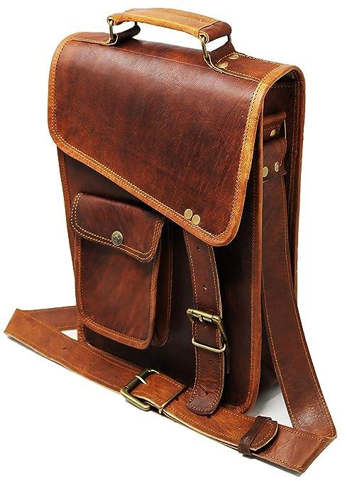 33 Cm Bolso Bandolera Laptop Bag Bolsa De Hombro Cuerpo Cruzado Grande para Mensajero Mensajeria De Cuero Piel Marron Portatil Notebook Bag College