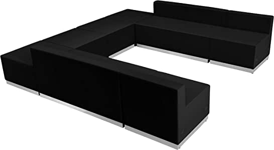 MFO Inspiration Collection Black Leather Reception Configuration, 8 Pieces