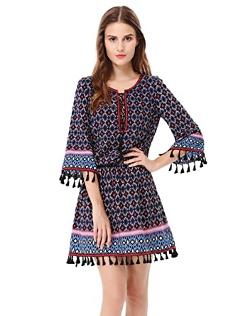 ee943aff2e5c1 Alisa Pan Womens Long Sleeve Printed Boho Casual Party Dress 4 US Navy Blue