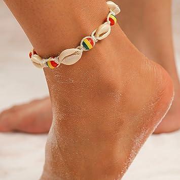 9f7d60d6b Amazon.com   Barogirl Shell Anklet Boho Beach Beaded Ankle Bracelets for  Women and Girls