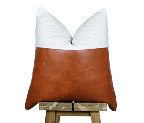 Miraculous Amazon Com Celycasy Faux Leather And Linen Pillow Cover Pdpeps Interior Chair Design Pdpepsorg