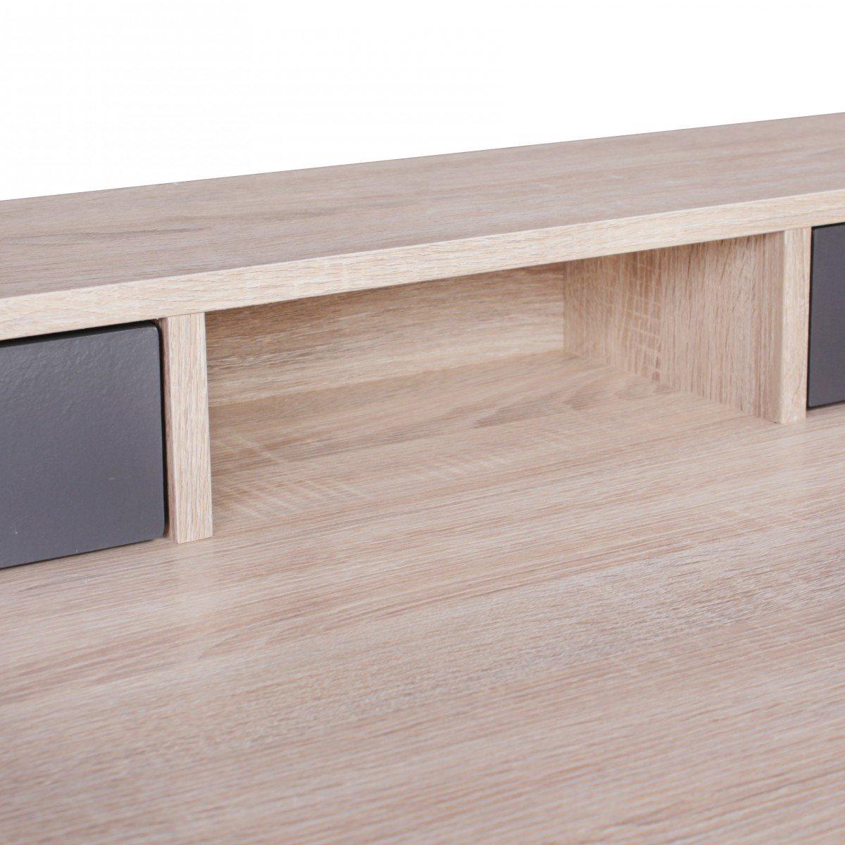 Bureau SAMO 120cm Design Table de Bureau Table Informatique Sonoma ch/êne//Moderne Gris 2 tiroirs et Rangement pour /économiser lespace