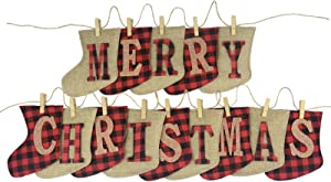 Hongsome Merry Christmas Banner Plaid Burlap Sock Shaped Merry Christmas Unique Small Hand-Sewn Decoration Hanging Firepalce Banners for Tree,Door,Wall,Office,Classroom,Home, Plaid&Burlap