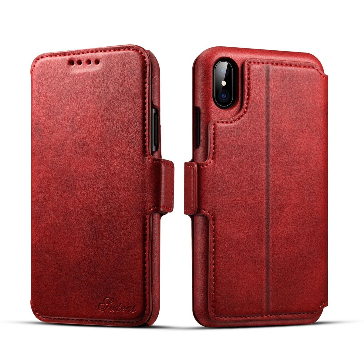 Scheam iPhone X Flip Cover, Case, Skins Card Slot [Stand Feature] Leather Wallet Case Vintage Book Style Magnetic Protective Cover Holder for iPhone X - Red by Scheam (Image #1)