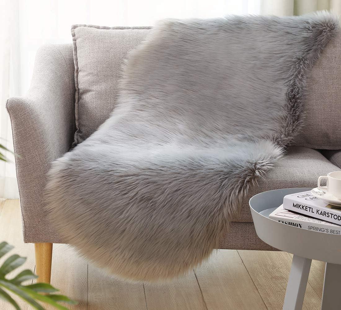 Ultra Soft Faux Sheepskin Fur Rug Fluffy Rug for Bedroom Fuzzy Carpet for Living Room Kid's Room Nursery Decor, Grey 2 x 6 Feet, Ciicool
