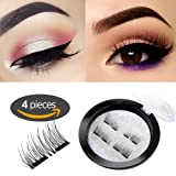 Amazon Price History for:New Dual Magnetic False Eyelashes - 1 Pairs (4 Pieces) Ultra Thin 3D Fiber Reusable Best Fake Lashes Extension for Natural, Perfect for Deep Set Eyes & Round Eyes Black and Brown