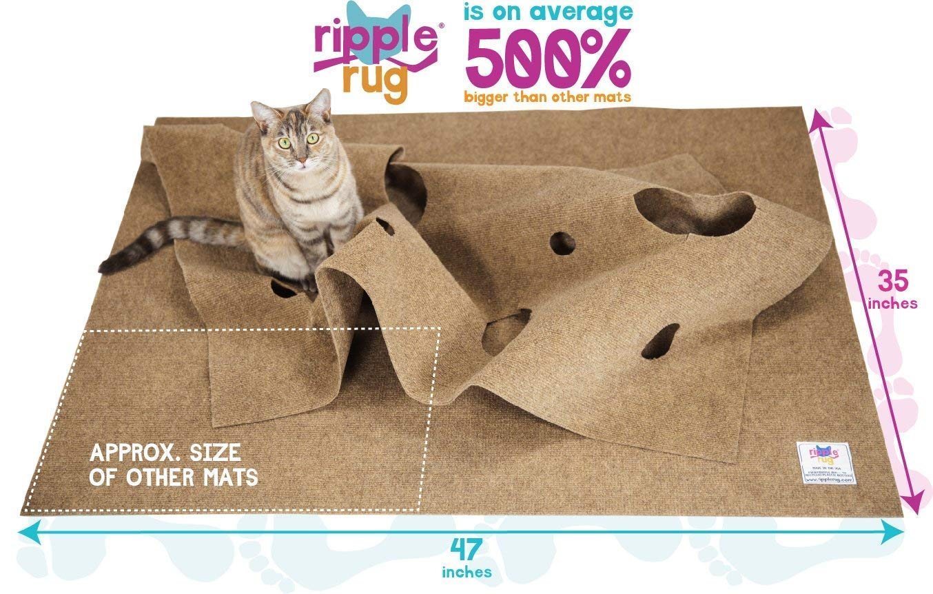 SnugglyCat The Ripple Rug - Made in USA - Cat Activity Play Mat - Thermally Insulated Base - Fun Interactive Play - Training - Scratching - Bed Mat 3