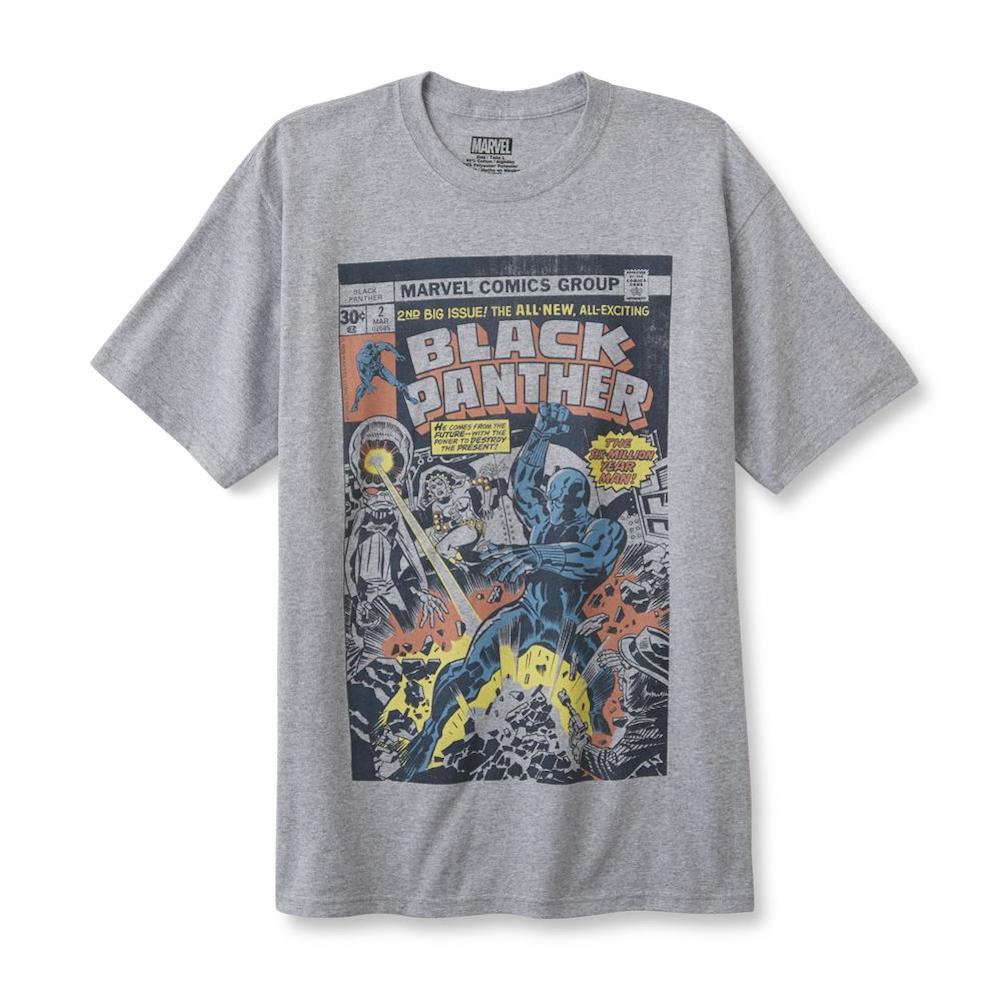 9a188bc8 Top1: Black Panther Marvel Graphic T-Shirt Comic Book Cover Art Mens Gray