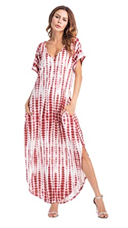 Clasichic Damen Kurzarm Sommerkleid Maxikleid Streifen V-Ausschnitt  Strandkleid (M, Weinrot) cd008133f7