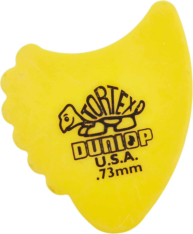 Dunlop 414R73 Tortex Fins, Yellow, .73mm, 72/Bag