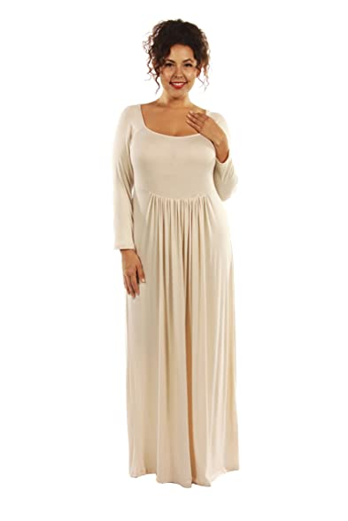 247 Comfort Apparel Trend Figure Flattering Plus Size Maxi Dress