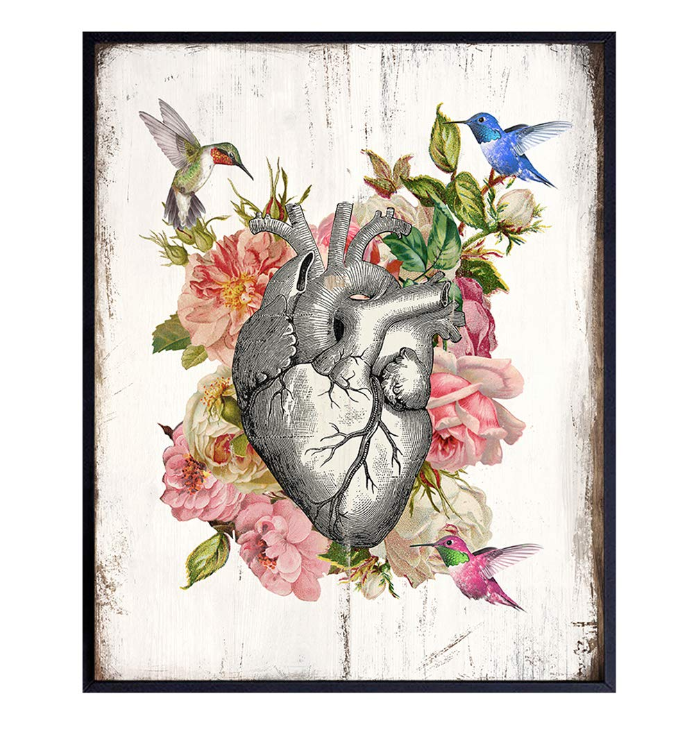 Heart Hummingbird Rose Wall Decor - 8x10 Rustic Farmhouse Shabby Chic Human Anatomy Art Decoration for Bedroom, Living Room, Medical Doctor Office - Gift for Cardiologist, Nurse, RN - UNFRAMED Print