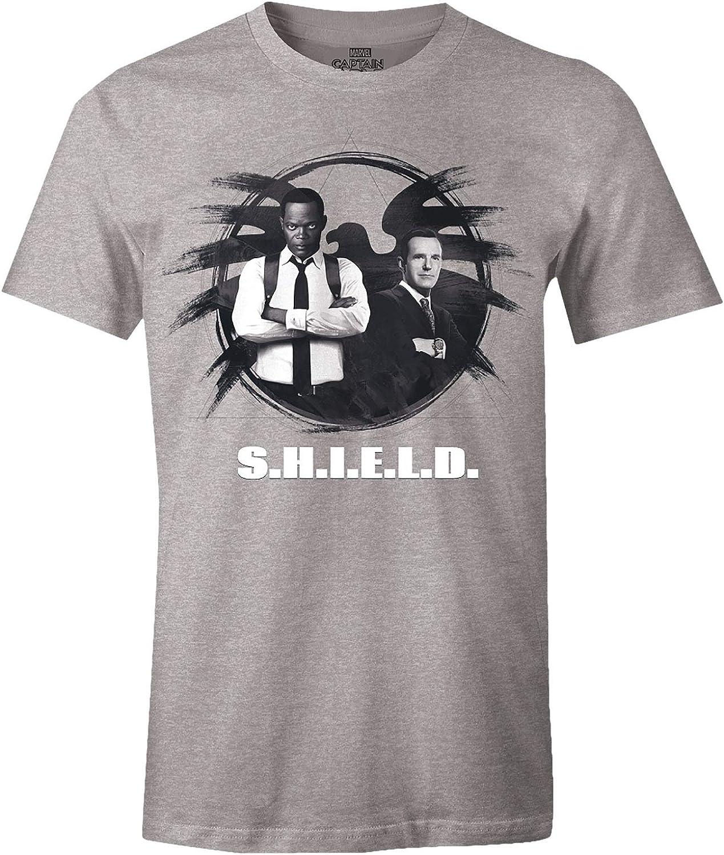 Capitán Marvel Camiseta para Hombre S.H.I.E.L.D. Agentes Nick Fury Phil Coulson Gray: Amazon.es: Ropa y accesorios