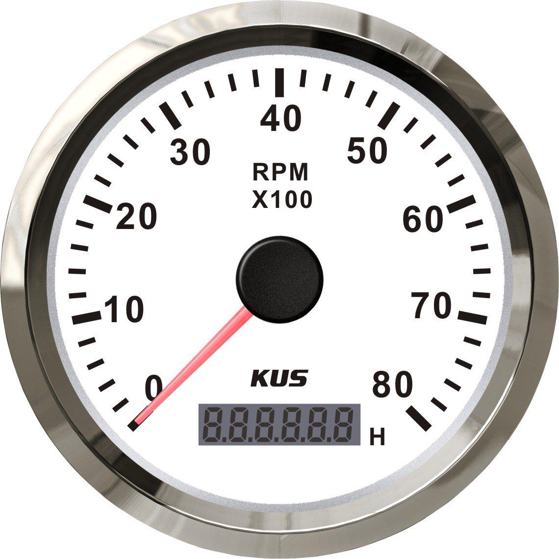 Kus universale contagiri rpm rev Counter con contatore orario 8000RPM motore a benzina per 85 mm 12 V/24 V con retroilluminazione