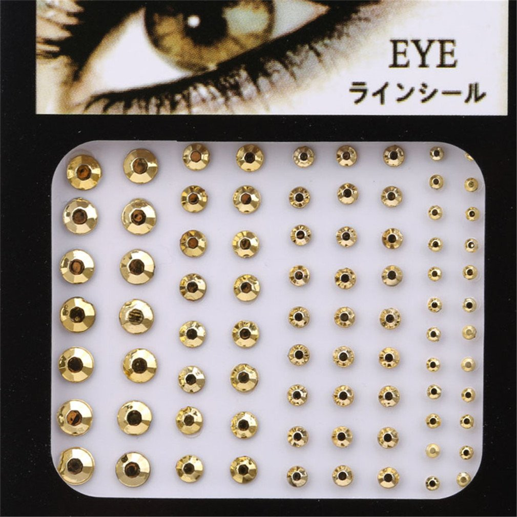 SONGLIN Crystal Eyes Stickers Tattoo Diamond Makeup Eyeliner Party Eyeshadow Face Sticker (Pleated Gold)