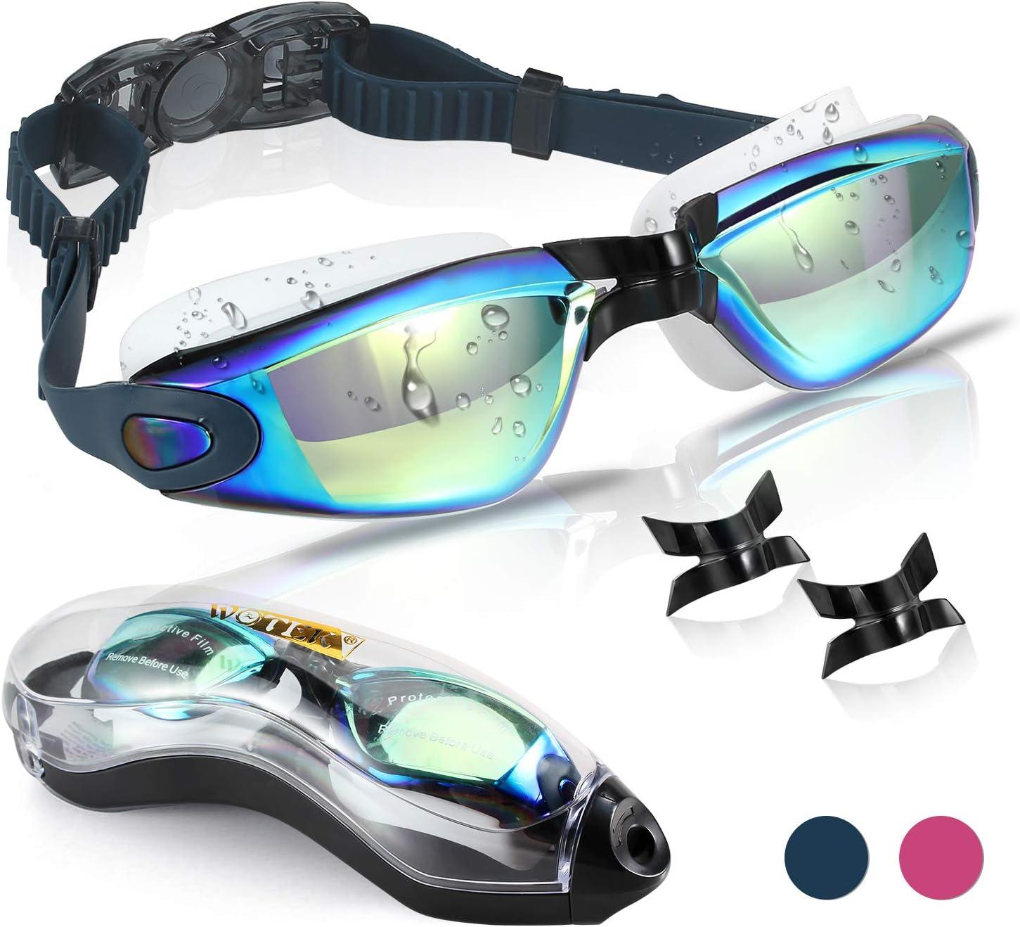 WOTEK Gafas de Natacion,Anti-vaho HD y Anti-UV Sin Fugas Gafas Natacion,Set con Puente Nasal Desmontable,Gafas Buceo de Protección para Mujeres, Apto para Todo Tipo de Deportes Acuáticos