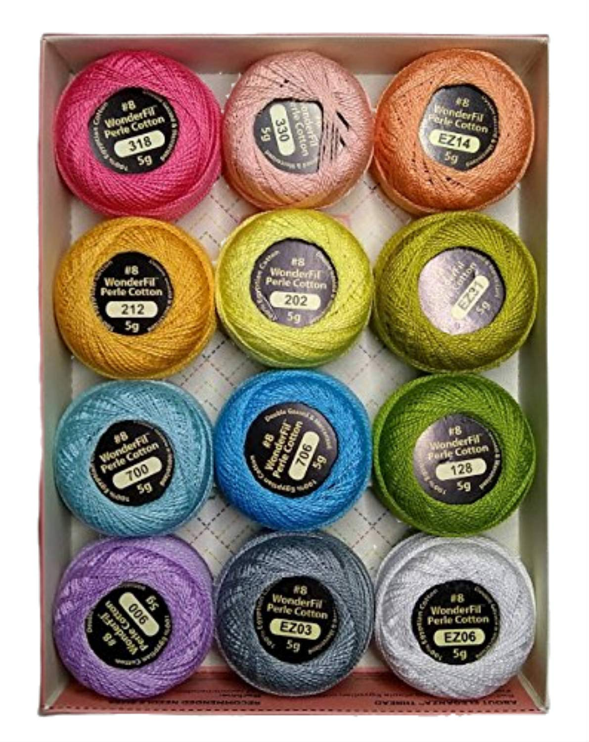 Wonderfil Eleganza #8 Perle Cotton Embroidery Thread Sampler Collection, ''Pastels'' by Eleganza