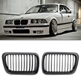 AUTOKAY 1 Pair of Front Kidney Matte Black Grill
