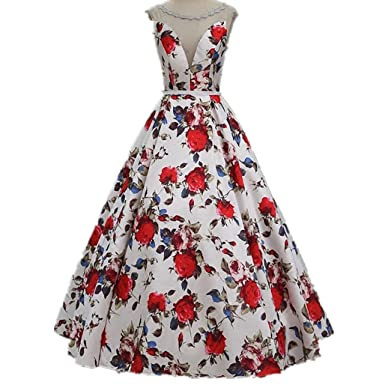 LeoGirl Womens Vintage Floral Print Long Prom Dresses Wedding Party Formal Gown at Amazon Womens Clothing store: