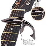 Imelod MC-30 Zinc Alloy Guitar Capo Shark Capo for Acoustic and Electric Guitar with Good Hand Feeling (Black), No Fret Buzz and Durable