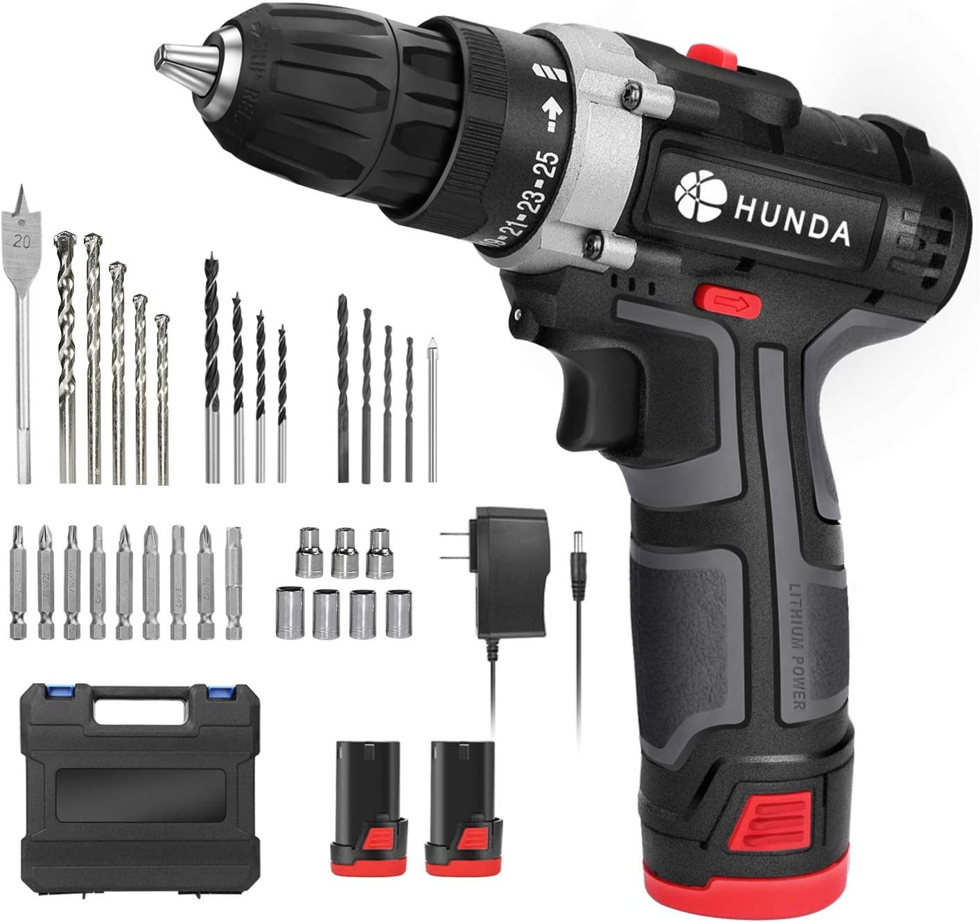 Electric Drill Set, 12.8V Cordless Drill Driver with 2Pcs 1300Ah Batteries, Household Tool Kit Portable Screwdriver - 2 Adjustable Speeds, 25 +1 Torque Settings, LED Light, 31 Pcs Accessory