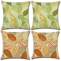 JUMUU Set of 4 Cotton-Linen Decorative Throw Pillow Covers Cute Cartoon Flowers Pattern Accent Handmade 18x18 Inch Square Cushion Cover Pillowcase for Sofa Couch Bed