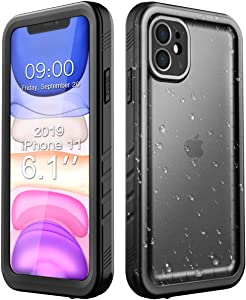 Cozycase Waterproof Case for iPhone 11, Shockproof Full-Body Rugged Bumper Sealed Case with Built-in Screen Protector for iPhone 11 6.1 inches 2019 Release -Black