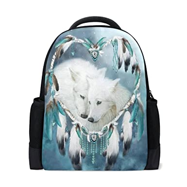 c89bdfd4f00 Amazon.com   Donnapink Cool White Dreamcather Wolves School ...