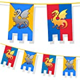 6m Knights and Dragons Bunting Medieval Thrones Party Decoration Flags Party Caste Hanging Jousting Flag by BOLAND BV