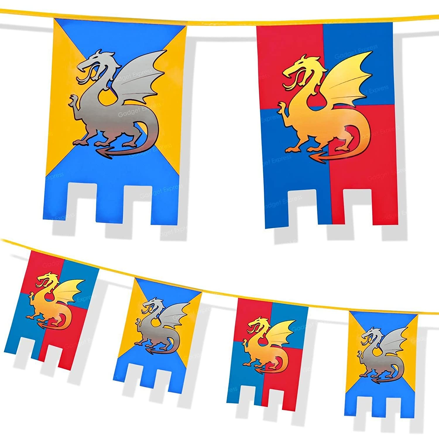6m Knights And Dragons Bunting Medieval Thrones Party Decoration Flags  Party Caste Hanging Jousting Flag