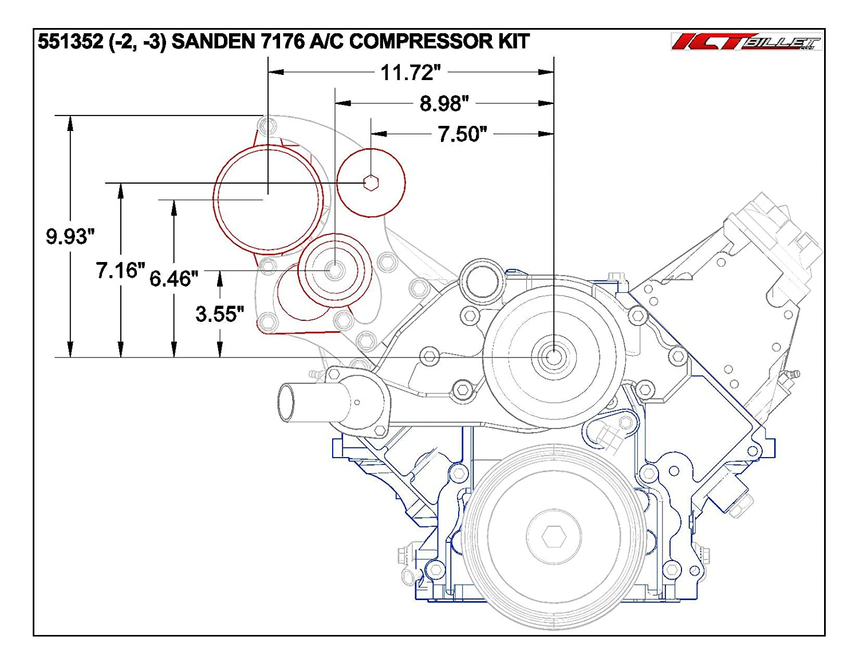 Ls Truck A C Air Conditioner Compressor Sanden 7176 Lq4 6 0 Engine Diagram Bracket Kit Lq9 Lsx Ac 551352 3 Automotive