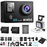 Action Cam, WiMiUS Q4 4k Caméra Sport Wifi Full HD 16MP, Caméra Embarquée de Sport Etanche 40M avec Kit d'accessoires + 2 Batteries (Noir)