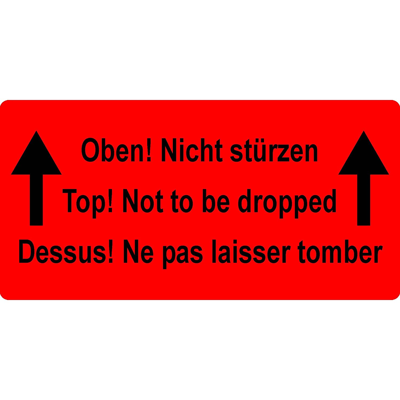 Labelident Versandetikett - Oben  Nicht stürzen  Top  Not to be dropped  Dessus  - 150 x 100 mm, 500 Aufkleber auf Rolle, Papier leuchtrot, selbstklebend B07BG9R5JD    | Spezielle Funktion
