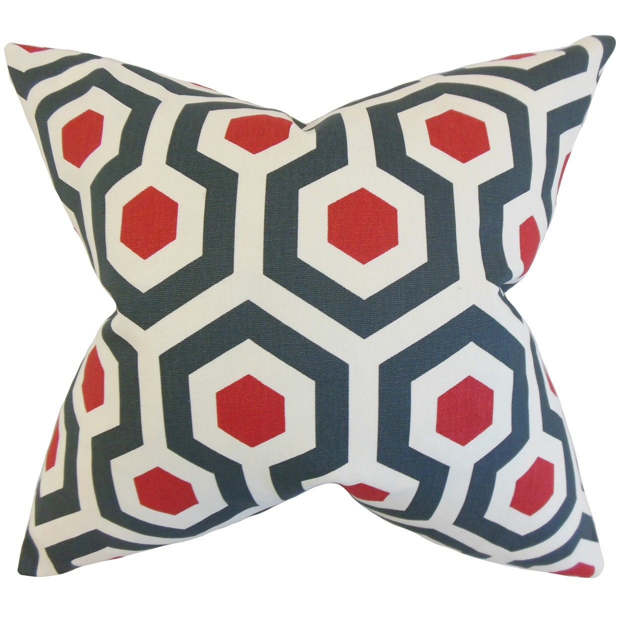 The Pillow Collection Maliah Geometric Blue Red Down Filled Throw Pillow