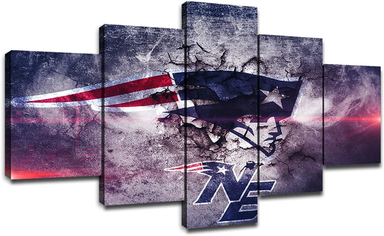 New England Patriots Framed Wall Art Decor Modern Art Paintings 5 Piece Canvas Home Decoration Wall Picture Home Artwork American Football Prints Poster(60''Wx32''H)