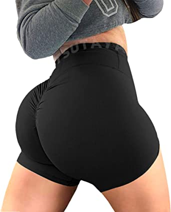 TSUTAYA Women Yoga Shorts Ruched Butt Sport Gym Scrunch Ruched Running Workout Fitness Active Butt Lifting Shorts