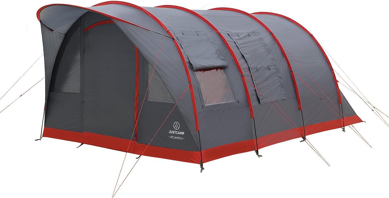 JUSTCAMP Atlanta 3, 5, 7 Personas, Tienda de Camping Familiar, Tienda Tunel, toldo y Piso