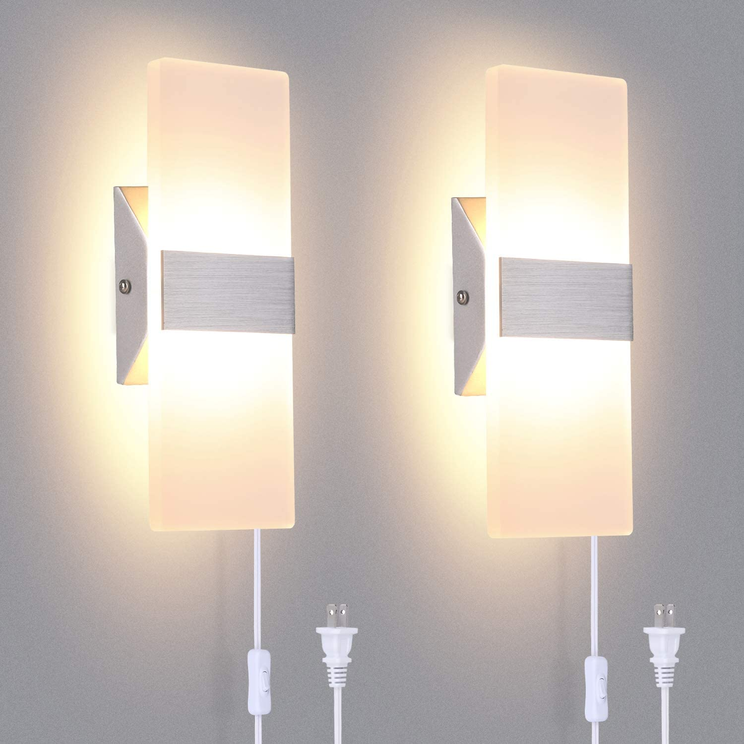 TRLIFE Modern Wall Sconces Set of 2, Plug in Wall Sconces 12W 3000K Warm White Acrylic Wall Sconce Lighting with 6FT Plug in Cord and On/Off Switch on The Cord
