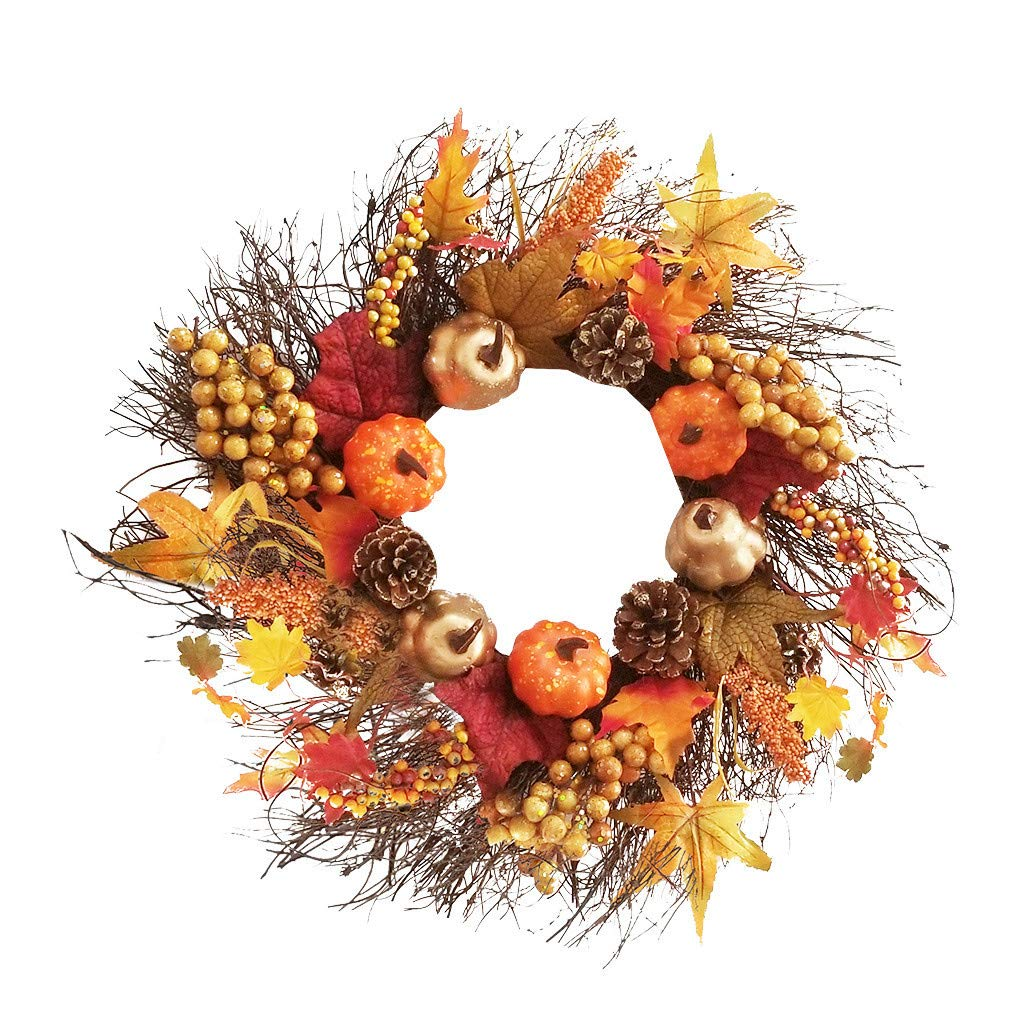Dowager Fall Door Wreath 18 inch - Large Autumn Door Wreath Harvest Wreath Autumn Silk Maple Leaves Wreath Garland Attached Pumpkins, Acorns, Berries for Home Indoor Outdoor Display by Dowager_Home Decor