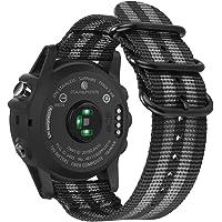 Fintie Correa para Garmin Fenix 3 / Fenix 5X - 26mm Pulsera de Repuesto de Nylon Tejido Banda con Hebilla de Metal para Garmin Fenix 3 / Fenix 3 HR/Fenix 5X Smartwatch (Rayas Negras y Grises)