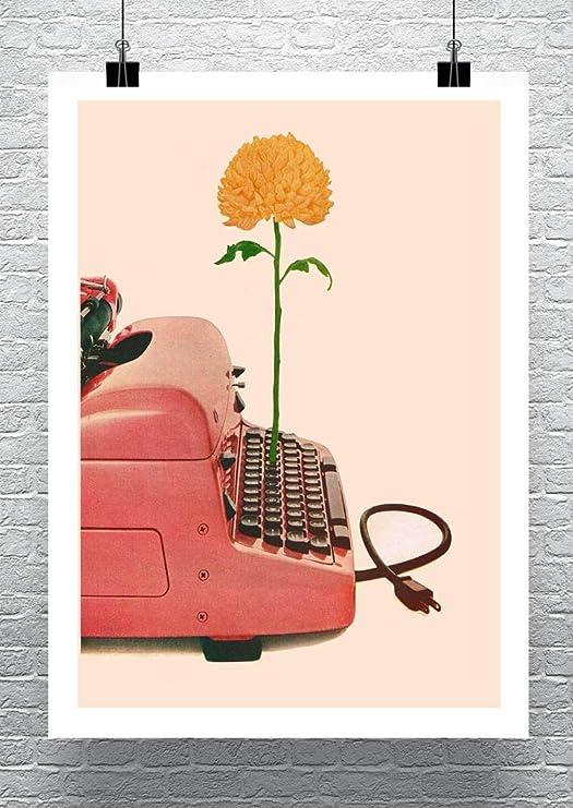 Mid Century Pink Typewriter With Flower Cotton Canvas Giclee Print 17x23 in.